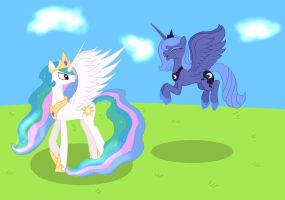 Princess Celestia and Luna by RandomThingsILike