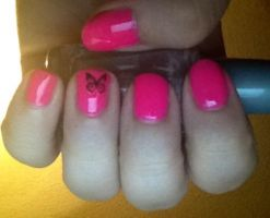 Pink butterfly nails by jinxissuperbutterfly