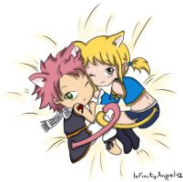 Natsu and Lucy cats by LoloHime