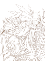 [Elsword] Mirror Fates - lineart - by ClairSH