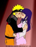 NaruHina Beso Color by MiaKa-CiD