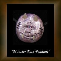 Monster Polymer Clay Pendant by KabiDesigns