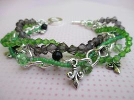 Green and Grey Bracelet with Green Czech Crystals by ExinaArt