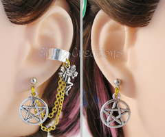 Silver and Gold Fairy Pentagram Chain Earrings by merigreenleaf