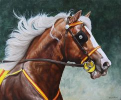 horse portrait. Gypsy Cob. Oil on Panel. by painterman33