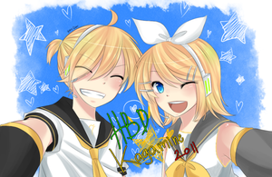 Happy Belated Birthday Rin Len by HimeHimeka02