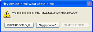 Big Gay Dance error message by FredrickTheCreeper