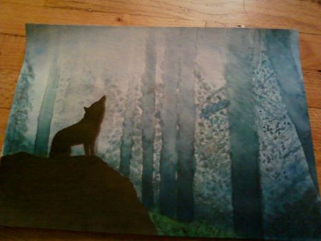 My first watercolor by Lycan4425