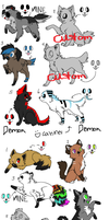 Canine and Feline adopts by LonelyWhispers15