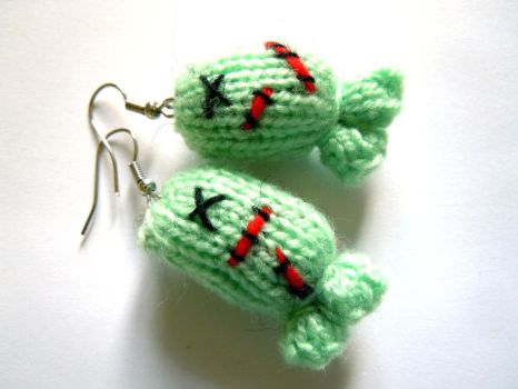 Zombie knitted fish earrings by Gillyflower-Designs