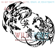 Sky song dragon and phoenix infinity design by for Fire and ice tattoo shop