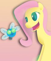 FLuttershy and a parasprite by jhr921