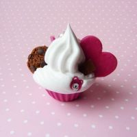pink teddybear cupcake by lemon-lovely
