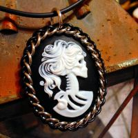 Half Persian Wrapped Cameo - Victorian Skull Lady by Utopia-Armoury