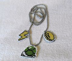 Mario Kart Icons Cross Stitch Necklace by agorby00