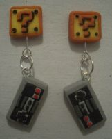 Nintendo Earrings, take 2 by estranged-illusions