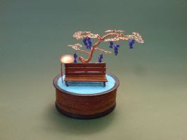 Bonsai Wire Tree Sculpture Grape Beaded Vineyard by sinisaart