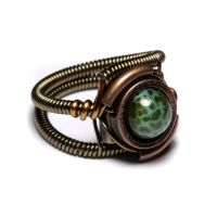 Green Fire Steampunk Ring by CatherinetteRings