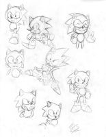 Classic Sonic Sketches by TrueRetroSonic