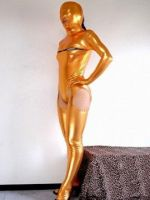 Gold Shiny Metallic Full Body Catsut Leotard by lilaliu