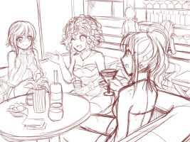 Girls Night Out Promo Sketch by HuniePot
