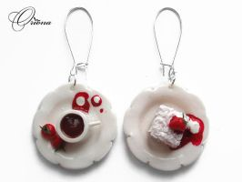 Earrings Tea with strawberries by OrionaJewelry