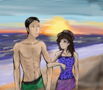 Saki and Marco--A Day At the Beach :3 (request) by SPAZTASTYCK