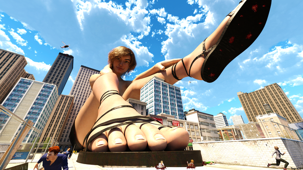Giantess Lounging in the City 2 - Commission by Tegra764