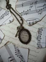 Sinfonia Necklace - Music Sheet - Rose Charm by NaamahVonhell
