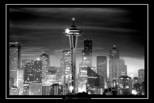 Space Needle Black and White by UrbanRural-Photo