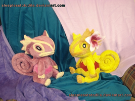 PK and Anana Plush Commissions by SleeplessTotodile