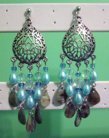 Blue Rain Chandelier Earrings by BloodRed-Orchid