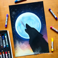 Howling wolf by Tinesdierportretten