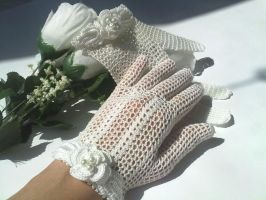 Victorian Style Handmade Crochet Bridal Gloves by crochetmiracles