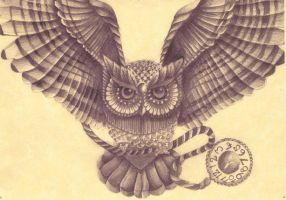 Owl drawing by AmyLou31