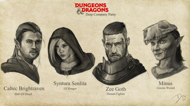 Dungeons and Dragons Party Members by DougBurbridgeArt