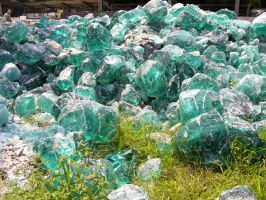 Green Melted Glass rocks 2 by FairieGoodMother