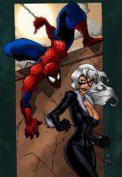 Spidey and Black Cat recolor by ZethKeeper
