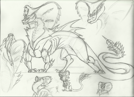 Monster Concept Sketches 2/2 by Sapphire-Essence