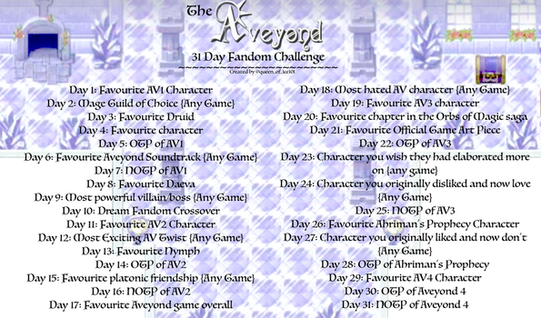 The Aveyond 31 Day Challenge by Queen-of-Ice101