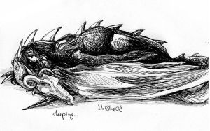 lorraine and her dragon sleepy by DarionDamage