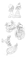 Luigi and Daisy: TT Sketchdump by Kenichi-Shinigami