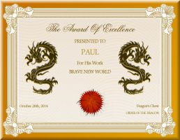 SEPTEMBER AWARD OF EXCELLENCE by DragonsChest