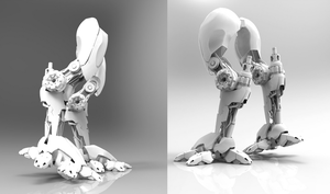legs of mech tutorial - back and side view. by Chofni1996