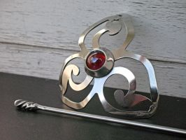 Red Triskelion Barrette by ou8nrtist2