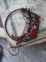 Red Gypsy Moon Copper Shawl pin by Lirimaer86
