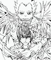 Ryuk and Light- Lineart by myitachi