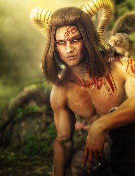 Satyr Man with Horns and Squirrel, Fantasy Art by shibashake