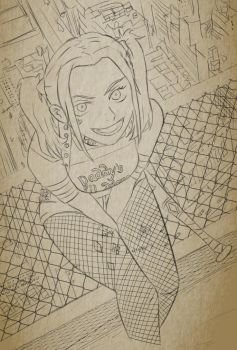 Harley Quinn (Suicide Squad) Line art by A-Fistful-Of-Kittens