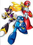 Megman, Bass and Protoman PNG. by spdy4